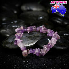 Natural Purple Crystal Amethyst Healing Gemstone Chain Bracelet