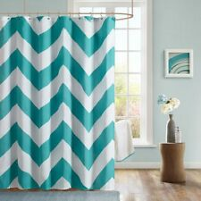 Teal and White Shower Curtain by Mizone 72 x 72 inches Chevron New in Package