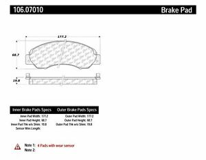 Centric Parts 106.07010 Disc Brake Pad Set For 94-10 UD 1200 1300 1400