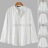 Guide London Navy Blue White Striped Grandad T Shirt Crew SJ3738 M L XL XXL Sale