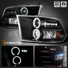 2009-2018 RAM 1500 10-18 RAM 2500/3500 LED+Halo Projector Headlights Black Pair