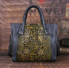 Women Genuine Cow Leather Shoulder Bag Messenger Embossed Handbag Cross Body