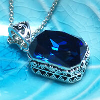 "Vintage Blue Sapphire Pendant Necklace 18"" Chain 14k White Gold Gift Jewelry"