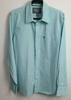 Abercrombie & Fitch Men's Light Blue Striped Long Sleeve Shirt Muscle Size XL
