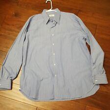 LUIGI BORRELLI BLUE STRIPE FRENCH CUFF DRESS SHIRT 17
