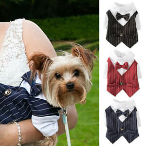 Dog Cat Bowtie Tuxedo Shirts Pets Wedding Formal Suit Clothes Party Costume