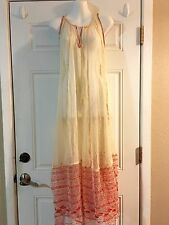 Free People Cream lace Gauze Red  Embroidered sheer MAXI DRESS S
