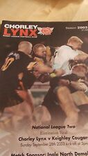 Chorley Lynx v Keighley Cougars programme 28.9.2003 Elimination Final