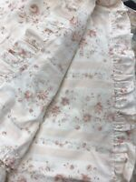 rare Ralph Lauren - Gorgeous, Pale Pink Floral, Stripe Queen Sheet, Ruffled End