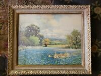 Original Print-Robert Wood Listed Artist--Bluebonnets-Antique Frame
