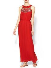 Piperlime Sabine Flounce Hem Drop Waist Tweed Red beaded neck Maxi dress SIZE M