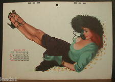 Al Moore Calendar Page Sexy Redhead December 1950 Green Gloves Strappy Shoes