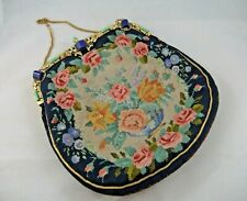 Superb Hand Made Petit Point Evening Bag W. Embellishments, Signed & Dated 1934