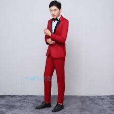 Mens Formal Jacket Pants Suits Slim Fit Show Wedding Costume Blazers Set Fashion
