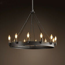 Industrial Vintage Round Pendant Lamp Hanging Light Suspension Fixture Lighting