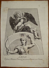 Stampa antica old print Luna Moon Lune dorigny raffaello raphael 1695 planet
