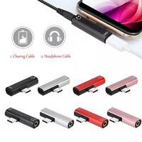 USB Typ C 2 in 1 Adapter Audio Ladekabel 3,5 mm AUX Klinke Kopfhörer USB-C DE
