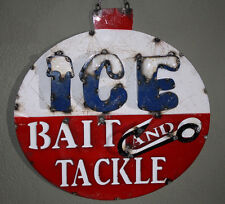 Metal BAIT AND TACKLE Sign ICE Garage Man Cave Home Decor Recycled Fish Fishing