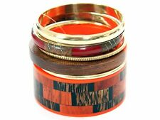 Women's Fashion Orange & Brown Artistic Bangles Bracelet Set Brown/Orange