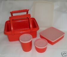 Vtg Tupperware Red Lunch Box Storage + Containers Sandwich Keeper Pack N Carry