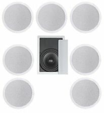 """8 FLUSH MOUNT IN-CEILING SPEAKERS 7.1 HOME THEATER 10"""" SUBWOOFER SURROUND SOUND"""