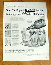 1956 Beer Ad Party Quarts Keep beer Cool 93% Longer