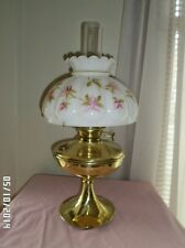 Brass Success P.L.B. NG Company oil lamp with milk glass hand painted shade