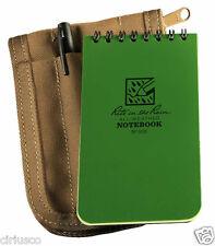 """Rite in the Rain"" All-Weather 3""x5"" Green Notebook Kit Tan Cordura Cover & Pen"
