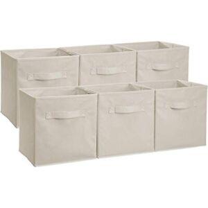 Basics Collapsible Storage Cubes Organizer Handles Beige 6 Pack 10.5x10.5x11