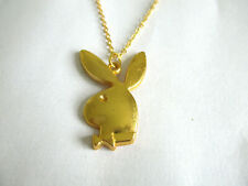 PLAYBOY BUNNY RABBIT PENDANT NECKLACE. GOLD