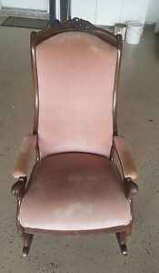 Antique Walnut Carved Lincoln Rocking Chair