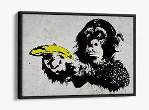 BANKSY MONKEY BANANA GUN -FLOAT EFFECT CANVAS WALL ART PIC PRINT- YELLOW BLACK