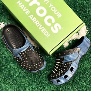 Barneys New York Blue Spike Crocs Sample Flip Flop Slides Size 11
