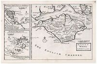 Old Vintage Antique The Isle of Wight map Moll ca. 1724