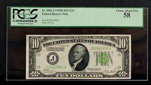 1928 B $10 FRN PCGS AU58 Kansas City FR. 2002-J LGS s/n J09062686A Mr. C