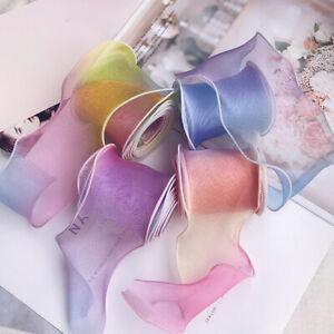 5 Yards Rainbow Organza Ribbon Shimmer Sheer DIY Dress Longan Craft Supplies