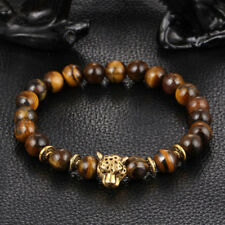 Yellow Tiger Eye Gold Leopard Head Beaded Yogo Stretch Bracelet Men Jewelry Gift