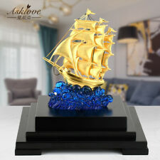 Gold Foil Sailboat statue office Wealth Mascot Art Crafts figurine Home decor