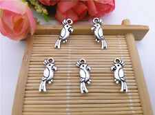 Wholesale 16pcs Tibet Silver Parrot Charm Pendant Beaded Jewelry DIY 64