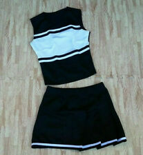 New Girl M/L Black White Cheerleader Uniform Shell Top Pleat Skirt 28-31/25-27""