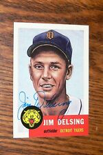 JIM DELSING SIGNED AUTOGRAPHED 1991 1953 TOPPS ARCHIVES CARD # 239 TIGERS