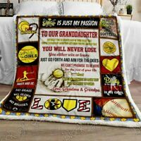 Softball Granddaughter, Love, Grandma & Grandpa Sofa Fleece Blanket 50-80
