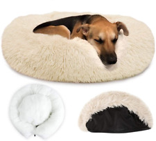 New listing Autowt Dog Calming Bed, Warm Donut Dog Bed with Removable Cover Soft Pet Cat for