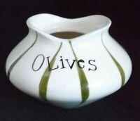 Vtg 1958 Holt Howard Olives Pixie Ware Jar Bottom Only Ceramic Green White MCM