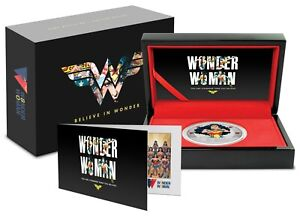 2021 Niue WONDER WOMAN 1 oz Colorized Silver Proof Coin ~ 80th Anniversary