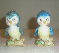 Vintage BLUE JAY Figural Salt & Pepper Shakers