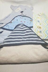 Lot of 3 Hooded Baby Bath Towel Wrap Soft and 3 Washcloth Blue Animal Basketball