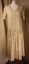 Vintage 80s Laura Ashley Drop Waist Floral Cotton Dress UK14 EU42