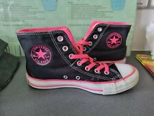 UNISEX BLACK & PINK DOUBLE UPPER CONVERSE ALL STAR HIGH TOPS SIZE 5