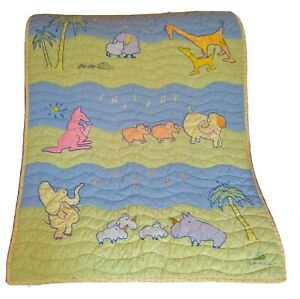 Carter's John Lennon Animal Parade Crib Comforter Quilt Green Blue Jungle Animal